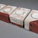 Drewniane świeczniki w bieli i miedzi, czyli cz. 12 recyklingu palet